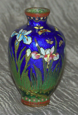 Small Japanese Cloisonne Enamel Vase with Robed woman & flowers - MEIJI Period