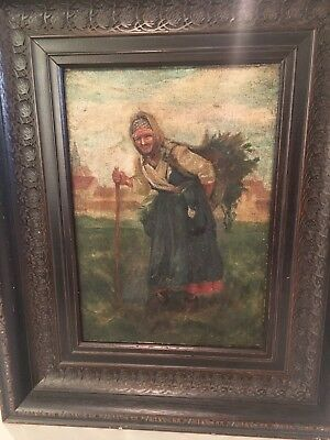 antiue oil on canvas painting of woman in countryside in wood frame signed