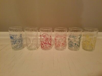 Set of 6 Vintage The Flintstones glasses, Hanna Barbera Productions 1964