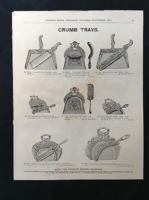 1891 Vintage Marshall Field Catalog Page  Crumb Trays ~ Music Rolls ~ Ink Stands
