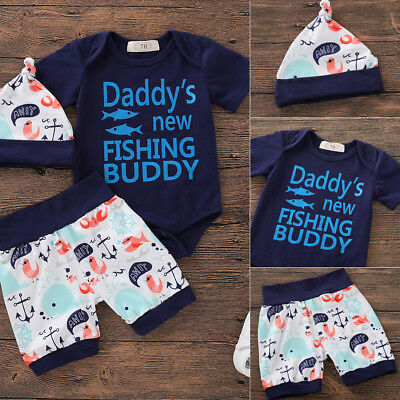 Newborn Infant Baby Boys Tops Romper Bodysuit Pants Hat Outfits Set Clothes 3PCS