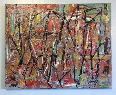 Abstract Expressionist Painting - LW Jeffrey - 16 X 20 - Wunna Snake - Mixed