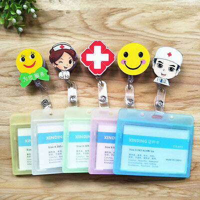 Retractable Badge Reel ID Name Card Holder Case Clip Staff Student Smile Face