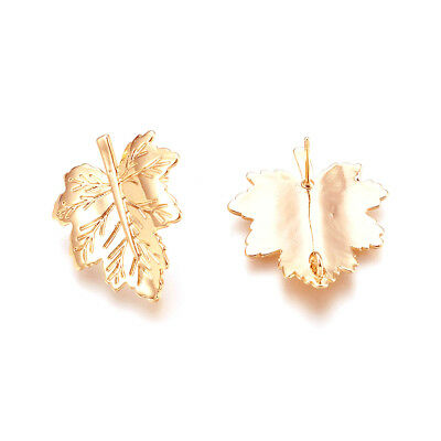 10 Brass Maple Leaf Earring Post Carved Gold Plated Stud Findings Back Loop 26mm