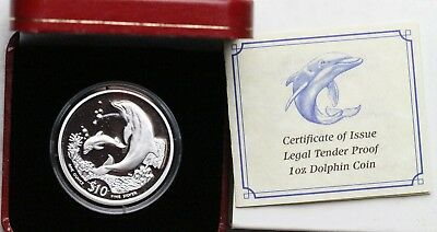 2005 $10 British Virgin Islands Silver Dolphin Proof Limited Mintage 10000!!