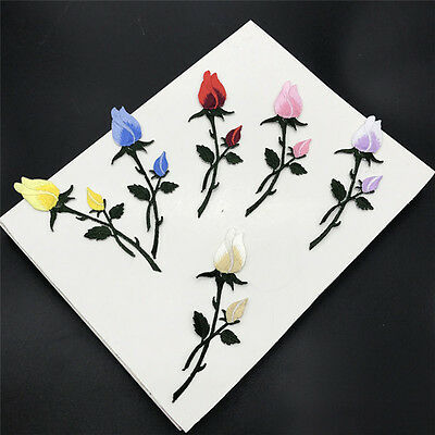 Rose Flower Embroided Iron On Applique Patch Clothing Sticker Sew Craft Repbr KW