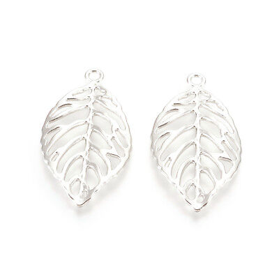 150pc Platinum Alloy Filigree Leaf Pendants Big Hollow Charms Nickel Free 49.5mm