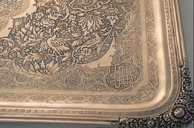 Musseum Mohammad Bagher Parvares 84 Silver Russian-Persian Tray Isfahan 1932