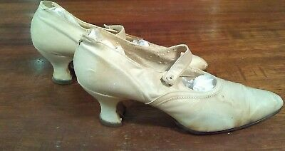 vintage kid leather ladies button strap shoes ca 1915-1920's
