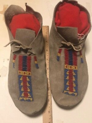 Vintage Northern Plains partially beaded Moccasins sinew sewn