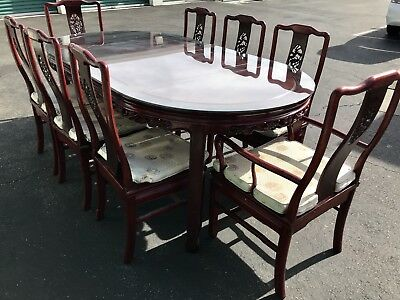 Vintage Chinese Carved Rosewood Dining Table with 8 Chairs. Glass Top Full-size