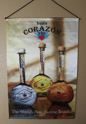"Corazon ""The World's Best Tasting Tequila"" Satin Fabric Advertising Ad Banner"