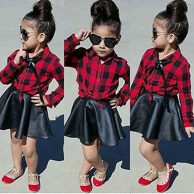 NEW Toddler Kids Girl Plaid Tops Shirt Leather Skirt Dress Outfits Set Clothes