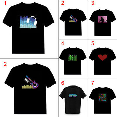 UK  SOUND ACTIVATED FLASHING LIGHT UP /& DOWN LED T-SHIRT PARTY BAR PUB