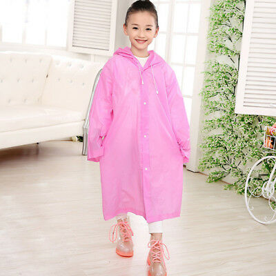 Kid's Unisex Age 6~12 Kids Hooded Jacket Rain Poncho Raincoat Cover Ra IUO