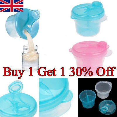 Milk Powder Dispenser 3 Dose of Baby Feeding Formula Storage Pot Container BK UK
