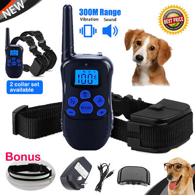 Anti Bark Dog Training Collar Rechargeable LCD Remote Stop Barking for 1/2 Dogs