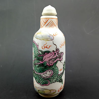 Chinese Handmade Exquisite  Cyan dragon pattern  porcelain snuff bottle