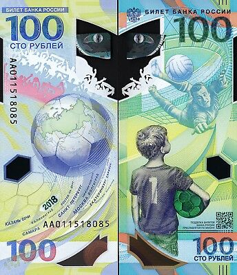 Russia 100 Rubles, FIFA World Cup, 2018, P-New, Polymer, Comm, Unc, AA