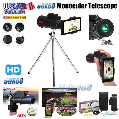 50X60Zoom Optical HD Lens Monocular Telescope Tripod Clip For Universal Phone