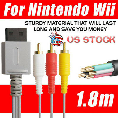 1.8m Audio Video AV Composite 3RCA Cable TV Lead Wire For Nintendo Wii Game USA