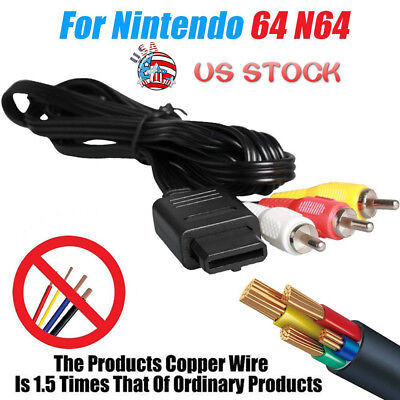 1.8m TV Game AV Cable RCA Video Cable for N64 Gamecube & SNES Super Nintendo USA