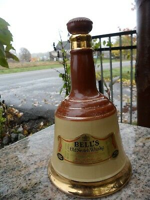 Vintage Brown Gold Bottle Ceramic Bells Old Scotch Whiskey Decanter Wade 10""