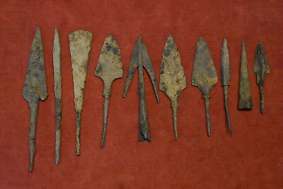 Antique Roman iron arrow collection of 10 different pieces