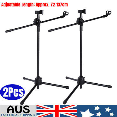 2X Telescopic Boom Microphone Floor Stand Adjustable Mic Holder Tripod 1-2m