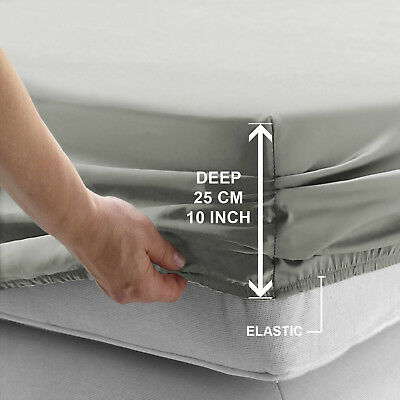 Deep Fitted Sheet Bed sheets For Mattress With Elastic Edges Grey Double UK Size