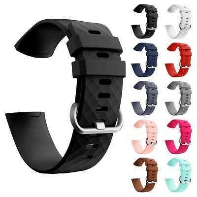 For Fitbit Charge 3 Soft Silicone Sports Smart Bracelet Watch Bands Wrist Strap