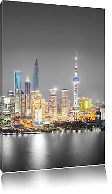 Shanghai Skyline at Night Black/White Canvas Picture Wall Deco Art Print