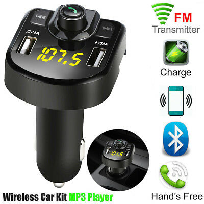 LCD Bluetooth Car FM Transmitter Wireless Radio Adapter USB Charger Mp3 Player