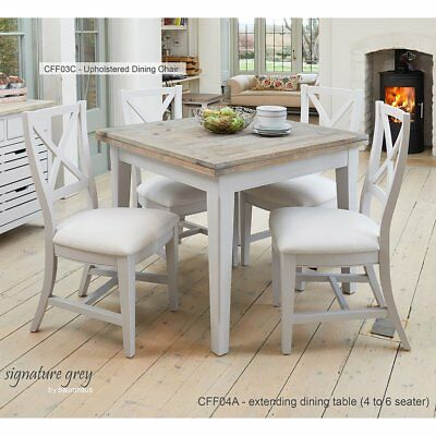 Signature Grey 95-190cm Square Extending Dining Table - Distressed Painted Table