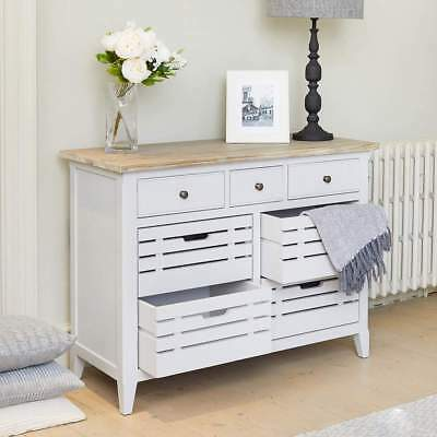Signature Grey Sideboard - Distressed Painted Servery - 4 Basket 3 Drawer Unit