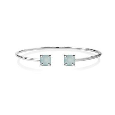Jewellery Bangle Silver Plated Open Oval Bangle with Square Mint Green Crystals