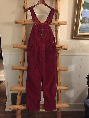 Washington Dee Cee Overalls VTG 1970s Red Corduroy Tag Size: 30 x 32