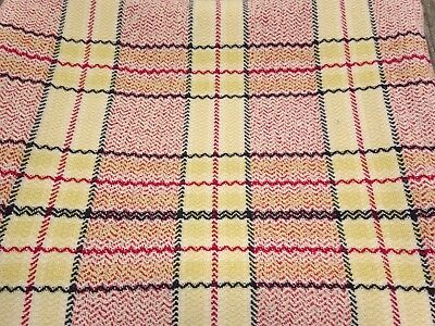 "Vintage Welsh Wool Check Blanket / Throw - Red Yellow Black 74"" x 68"""