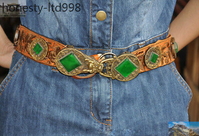 Chinese bronze Silk inlay Green Gem Dragon Ancient Emperor belt waistband girdle