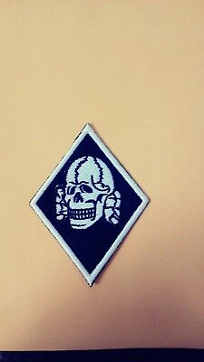 Death Head Diamond Patch,White & Black. Harley, Viking, Odin, Thor