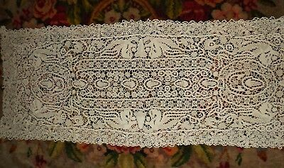 "Antique Vintage Reticella NEEDLE LACE RUNNER Taupe 37"" x 14"" Dragons Acorns"