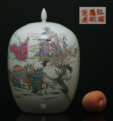 A BEAUTIFUL antique CHINESE PORCELAIN FAMILLE ROSE JAR FIGURES 1900