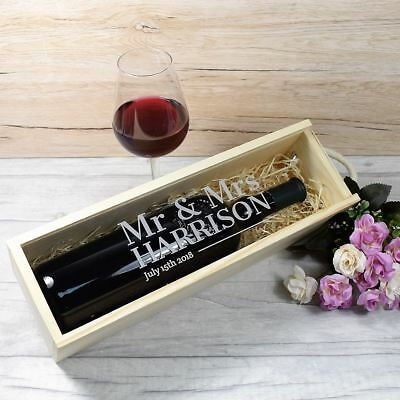 Personalised Engraved Wooden Wine Box with Clear Lid Bride & Groom Wedding Gift