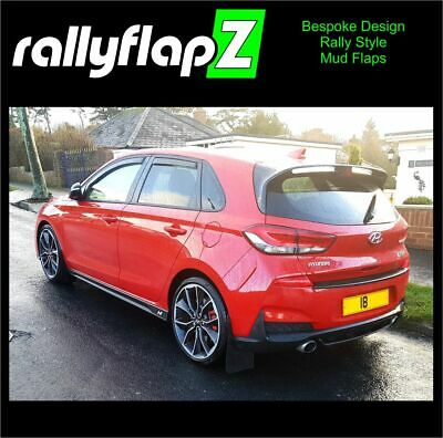 Set of 4 Mud Flaps rallyflapZ Hyundai i30N Black 4mm Flexible PVC brackets inc