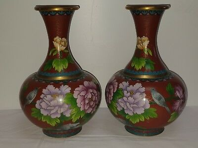 Pair of Vintage/Antique Large Chinese Cloisonne Vases