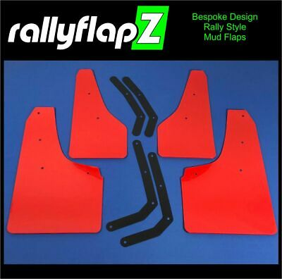Set of 4 Mud Flaps rallyflapZ Hyundai i30N RED 4mm Flexible PVC brackets inc