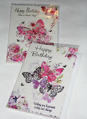 FEMALE BIRTHDAY CARDS X 12, just 28p per card, FOILED,WRAPPED, (HS23