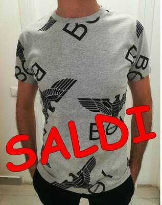 BOY LONDON T-SHIRT Uomo Donna Grigia Stampa All Over Logo - Blu5017 ... a4aa466cb3fb