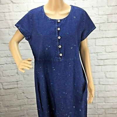 9930b7a98c Vintage David Wayne Denim Dress Womens 18 Modest Floral Blue short Sleeve
