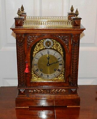 Antique Victorian Figured Walnut Large Chiming Bracket Clock Working